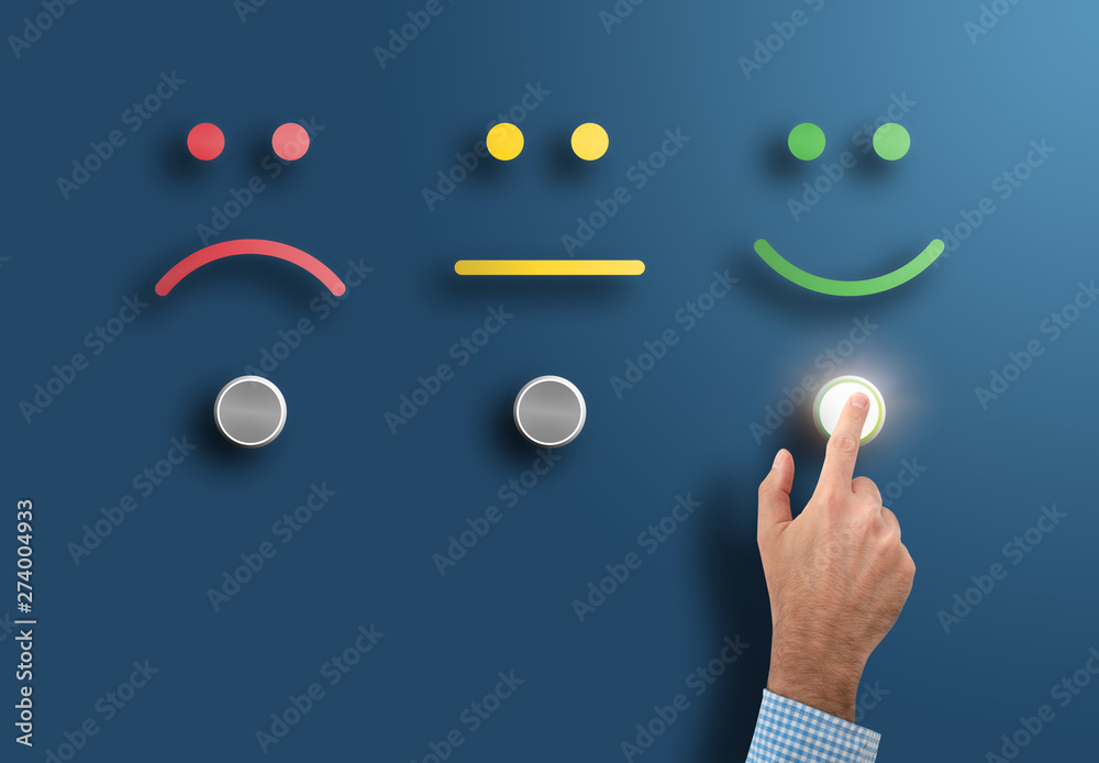 Fototapeta customer service rating and survey concept with hand touching interface button with smiling face