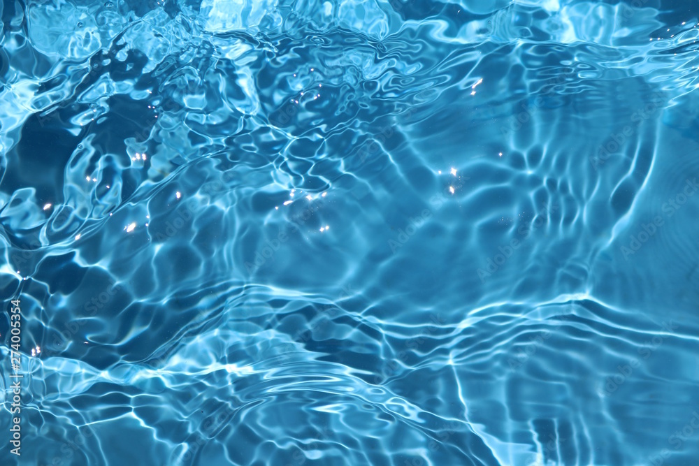 Fototapety, obrazy: Blue and bright water surface with sun refection in swimming pool for background