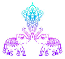 Indian Floral Pattern With Elephant, Henna Mehndi Tattoo Design