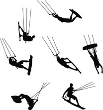 Set Of Silhouettes Of Kitesurfers, Kiteboarding, Watersports