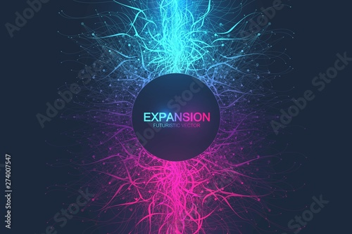 Obraz Geometric abstract background expansion of life. Colorful explosion background with connected line and dots, wave flow. Graphic background explosion, motion burst. Scientific vector illustration. - fototapety do salonu