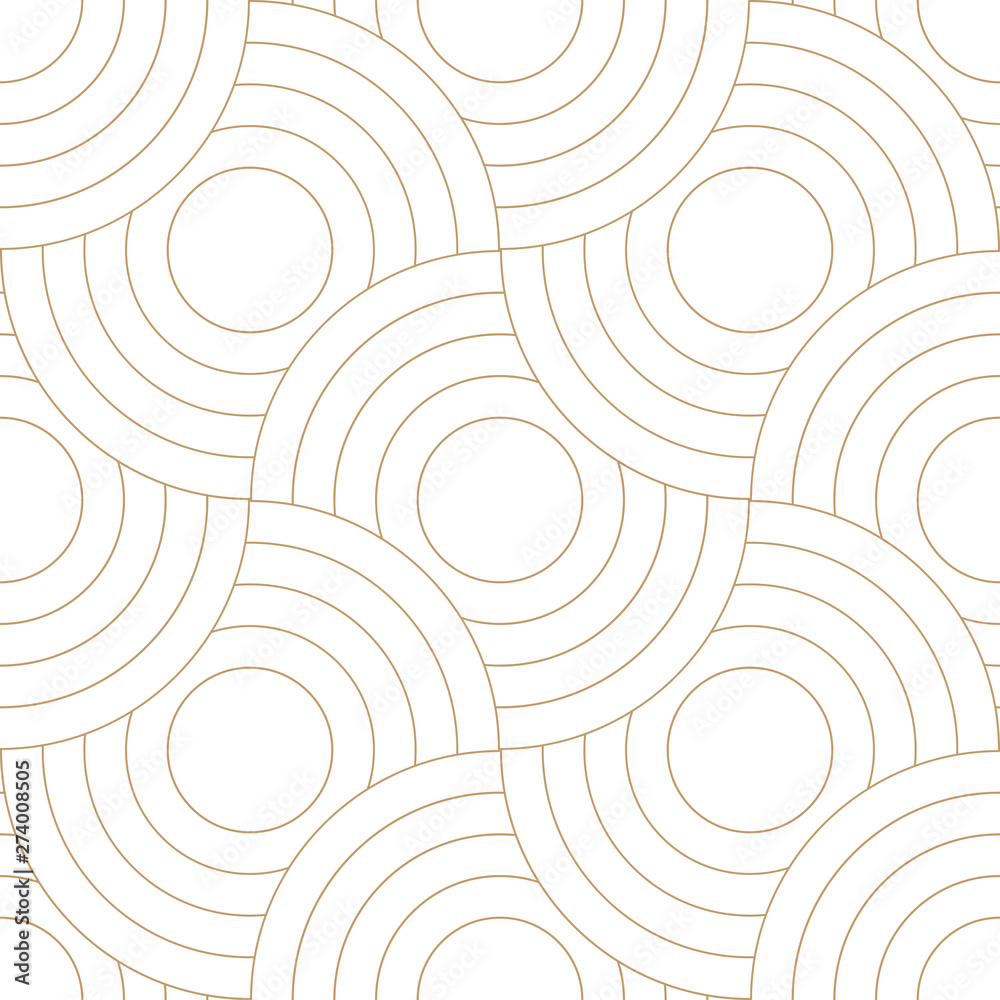Fototapety, obrazy: Abstract retro pattern of geometric shapes. Golden mosaic backdrop. Geometric wave of circles  background, vector