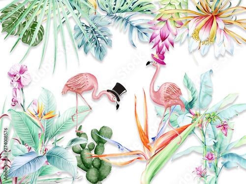 streszczenie-ilustracji-rozowe-kwiaty-kolorowe-liscie-palmowe-dwa-flamingi-w-kapeluszach
