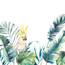 Watercolor Greenery And Big Yellow Cockatoo Frame. Hand Drawn Greeting Card Design With Exotic Leaves, Branches Isolated On White Background. Palm Tree, Banana Leaves, Mostera Plants