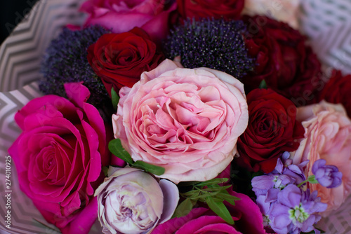 Aluminium Prints Dahlia bouquet of flowers in the floristry shop wedding salon
