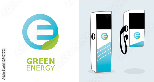 Fotografie, Tablou Electric Car Charging Station Green Energy Banner