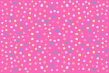 Abstract Pink Background With Multicolor Polka Dots. Raster Graphics.