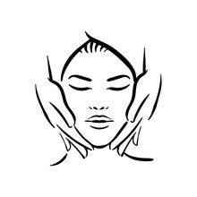 Vector Hand Drawn Illustration Of Spa Face Massage For Woman On White Background