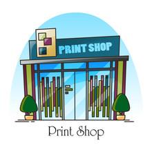 Print Shop Building Facade In Thin Line. Exterior