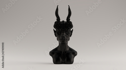 Foto  Black Antique Horned Demon Queen Statue Bust Front View 3d illustration 3d rende