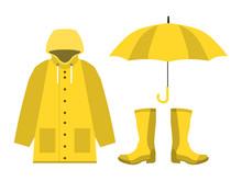 Raincoat, Rubber Boots, Open Umbrella, Set Of Rainy Season In Flat On White Background Design Vector