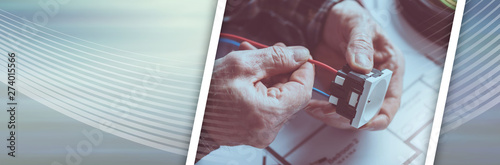 Fotomural Electrician connecting a wire into a power socket; panoramic banner