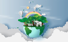 Illustration Of Reindeer In Green Forest,Creative World Environment And Earth Day Concept.landscape Wildlife With Elephant In Green Nature Plant By Area Around Balloons On Sky. Paper Cut ,craft.vector