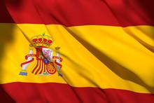 3d Rendering Of Spain Flag