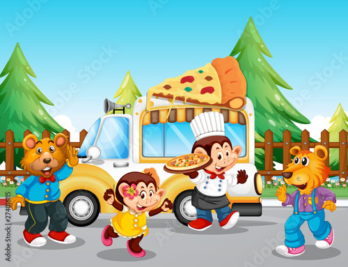 Fotobehang Kids Pizza food truck at the park