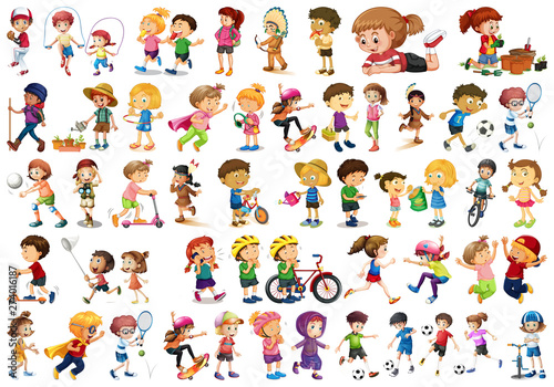 Fotobehang Kids Set of children character