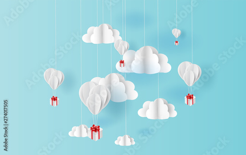 Photo  paper art style of white balloons color floating in air blue sky background