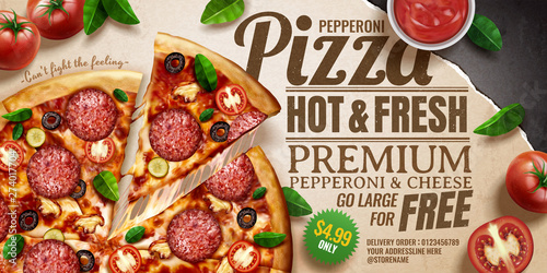 Fotografie, Obraz  Pepperoni pizza ads