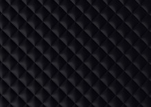Chester Textile Texture Background. Black Fabric Stitched Squares.