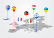 Vector Illustration europe map infographic for slide presentation. Global business marketing concept.