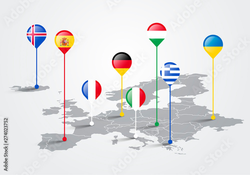 Fototapeta Vector Illustration europe map infographic for slide presentation. Global business marketing concept. obraz