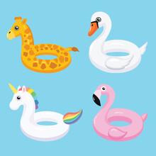 Flamingo, Unicorn, Swan And Giraffe Inflatable Swimming Pool Floats. Vector Illustration.