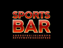 Vector Premium Emblem Sports Bar. Red And Golden Uppercase Font. Luxury Alphabet Letters And Numbers