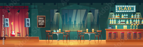 Fototapeta Bar or pub with live music cartoon vector interior. Stools near bar counter, shelves with alcohol drinks, table and chairs for visitors, performance stage with guitar and loudspeakers illustration obraz