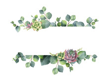 Watercolor Vector Wreath With Green Eucalyptus Leaves, Flowers Succulents And Branches.