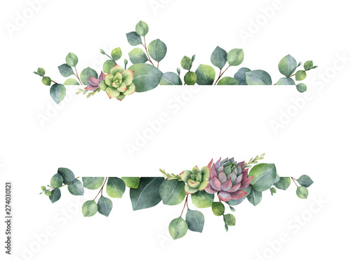 Fototapeta Watercolor vector wreath with green eucalyptus leaves, flowers succulents and branches. obraz