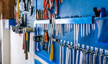 Detail Of Motorcycle Workshop Tools Board Very Well Organized