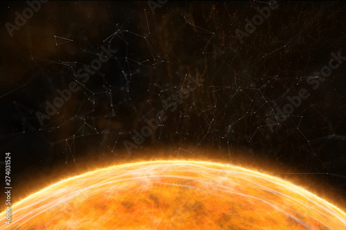 Artistic orange yellow star closeup with details in the abstract space. 3d illustration copy space background. - 274031524