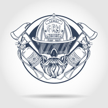 Hand Drawn Sketch, Fireman Skull With Helmet, Glasses, Beard And Mustaches, Fire Extinguisher And Axe. Poster, Flyer Design
