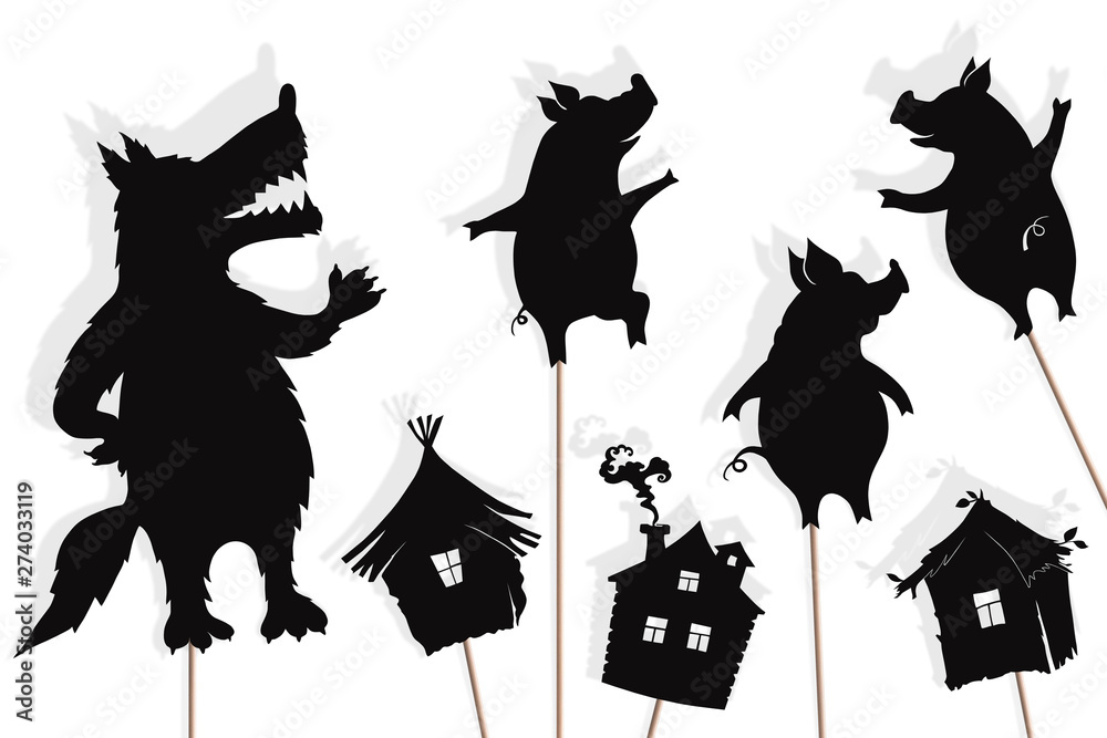 Fototapeta Three little pigs storytelling, isolated shadow puppets.