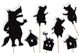 Three little pigs storytelling, isolated shadow puppets.