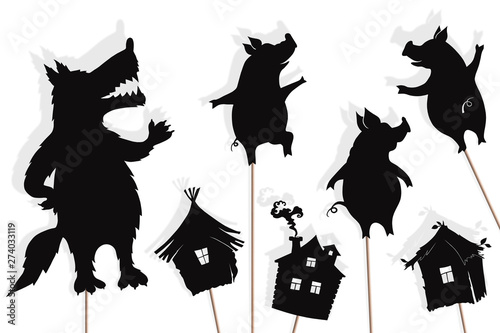 Fotografie, Tablou  Three little pigs storytelling, isolated shadow puppets.