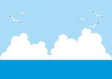 Illustration Of Sea, Sky, Clou...