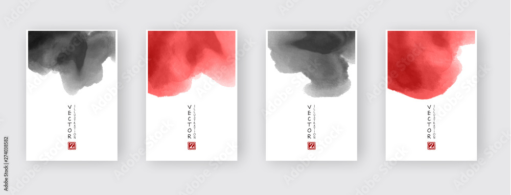 Fototapety, obrazy: Minimal red and black covers design set