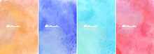 Color Abstract Watercolor Background Set