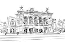 Vienna State Opera. Vienna, Austria. Hand Drawn Sketch Vector Illustration.