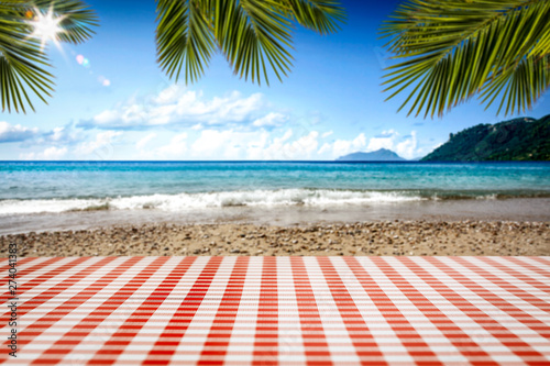 Fototapeten Strand desk of free space and summer beach landscape