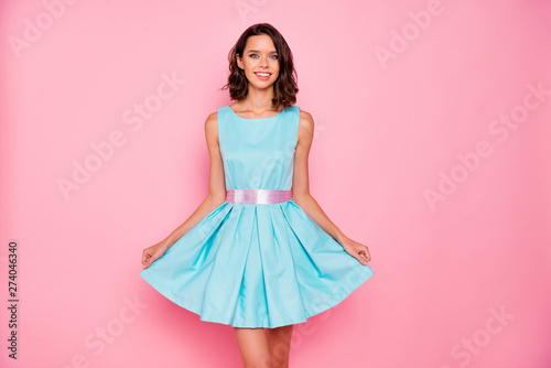 Fototapeta Close up photo amazing beautiful she her lady graduation college university school ready chill attractive pretty appearance wear cute shiny colorful blue dress isolated pink bright vivid background obraz na płótnie