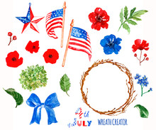 Watercolor Patriotic Wreath Creator. 4th Of July Symbols, Isolated On White Background. USA Flags, Poppies.