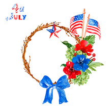 Watercolor July Fourth Festive Patriotic Wreath With USA Flags, Flowers, Star In Red, White And Blue Traditional Colors.