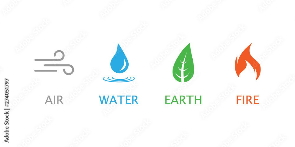 Fototapety, obrazy: Four elements symbol. Vector illustration, flat design.