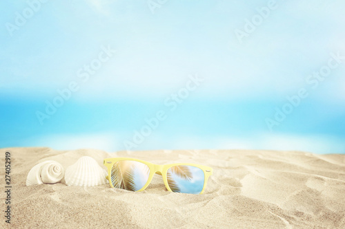 Photo sur Plexiglas Zen pierres a sable Empty sand beach, seashells and sunglasses in front of summer sea background with copy space