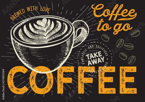 Kawa iść ręka rysująca ilustracja dla restauraci.