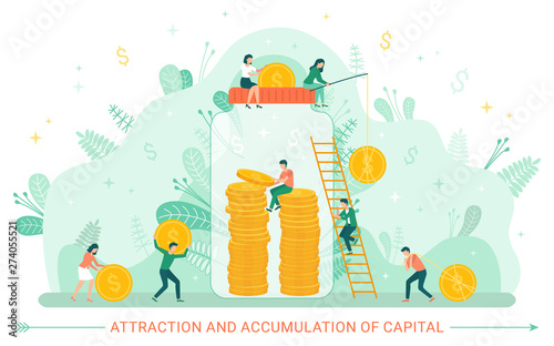Attraction and accumulation of capital vector, people dealing financial assets and investment in future Canvas Print