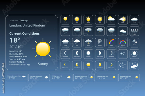 Fototapeta set weather icons. All icons for weather with sample of use. vector, eps 10. obraz