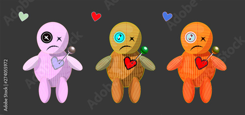 Photo  Set of isolated different colors woodoo dolls, little monsters on dark grey back